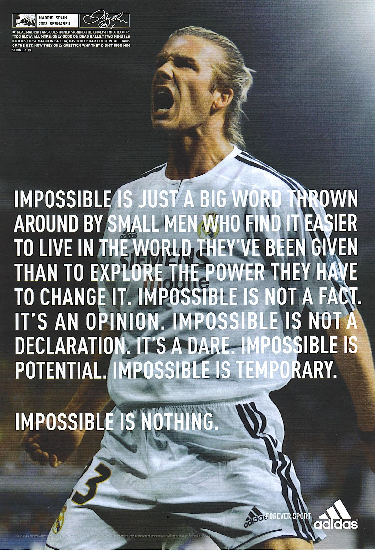 About writing the Impossible is Nothing manifesto.  ad8e8db5d